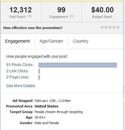Facebook boosted posts engagement