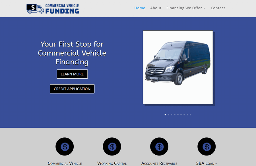 WordPress website home page for Commercial Vehicle Finding website